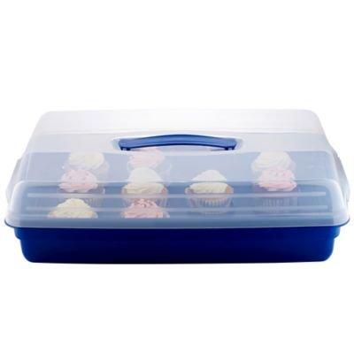 Rechteckige Kuchen-/Cupcake-Transportbox , Clip-Verschlüsse, 45 x 29,5 x 11cmH