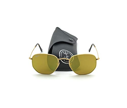 Ray-Ban RB3548N HEXAGONAL FLAT LENSES Mirrored Sunglasses (Gold Frame/Yellow Flash Lens 001/93, 51)