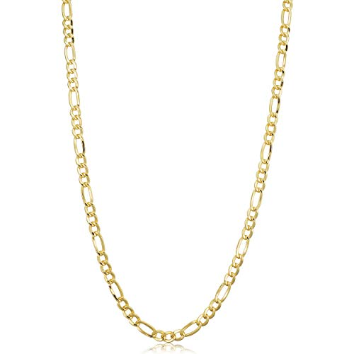 Kooljewelry 14k Yellow Gold Filled Solid Figaro Link Chain Necklace (3.3 mm, 22 inch) (14k Solid Gold Link)