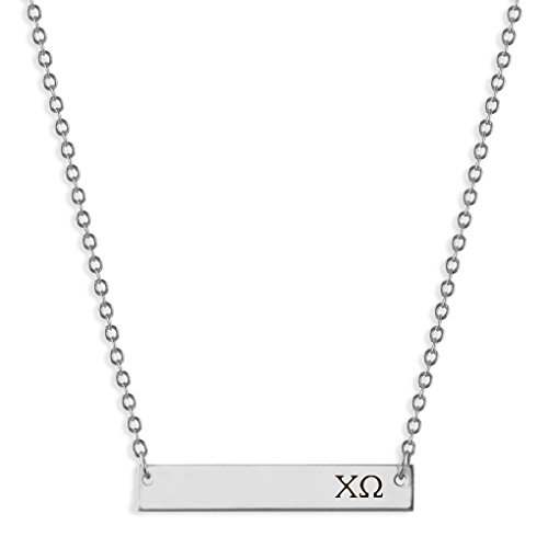 Custom Greek Letters - A-List Greek Horizontal Bar Necklace - Chi Omega Hand Stamped Greeks Letters Jewelry | Silver Plated Sorority Necklaces - Great Gift for Sororities Girls, Big and Little Sister