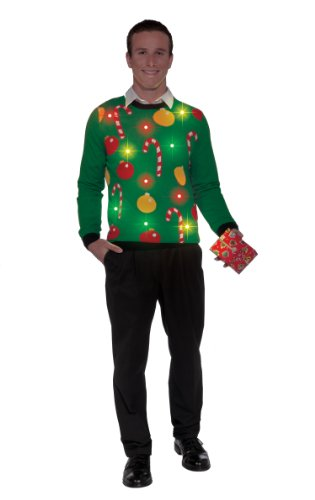 Forum Novelties Adult Tis The Season Light-Up Ugly Christmas Sweater, Multi, Medium Christmas Ugly Sweaters