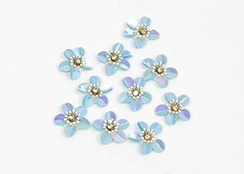 Sequin Flower 3D Applique 10 Pieces - Iridescent Light Blue - 1