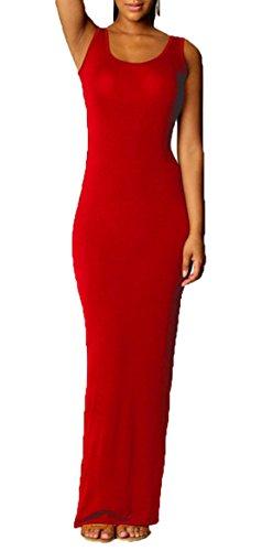 Sin de Vestido Maxi de Lisos Mujeres Fiesta Playa Cuello Colores Redondo Partido Cóctel Vestidos Verano Dress Chalecos Mangas Apretado 4OqSna0w