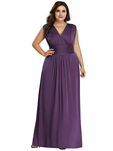 Women's Plus Size Elegant Long Formal Evening Dress Bridesmaid Dress Purple US24