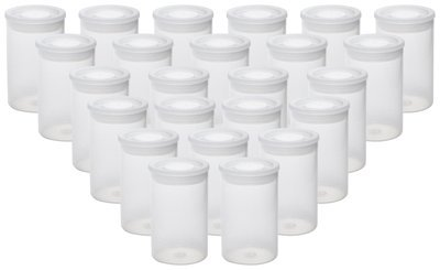 Film Canisters with Lids,Clear,See-Through,Pack of 24,School Art Projects,Storing of Small Personal and Household Items,Pills,Herbs,Tiny Bead Storage Containers