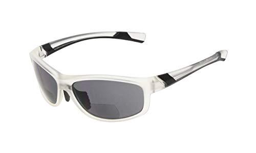 Eyekepper Fashion Sports Bifocal Sunglasses TR90 Unbreakable Outdoor Readers Baseball Running Fishing Driving Golf Softball Hiking Clear Frame Grey Lens +3.0