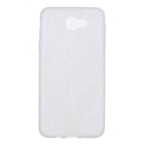 Funda Samsung Galaxy J7 PRIME,XiaoXiMi Carcasa de Silicona TPU Suave y Esmerilada Funda Ligero Delgado Carcasa Anti Choque Durable Caja de Diseño Creativo - Flores de Datura Flores de Datura