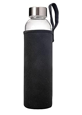 Primula Cold Brew Travel Bottle with Black Insulating Neoprene Sleeve - Borosilicate Glass and Stainless Steel Mesh Core - Dishwasher Safe - 20 oz. - Clear from Primula