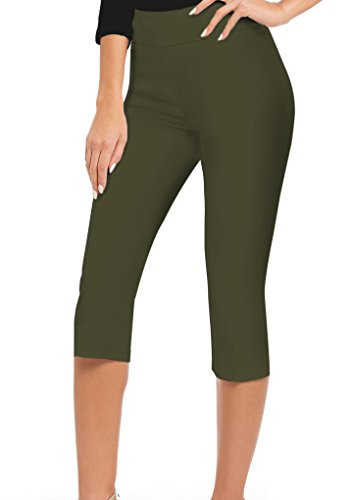 Women Stretch Pull On Business Millennium Capri Pants KQ44972X Olive 2X