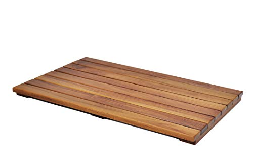 Large Grade A Teak Bath Mat with Non Slip Grips | Mildew Resistant Teak Shower Mat Treated with Natural Teak Oil | Made in Indonesia with Legally Sourced Wood | 23.6