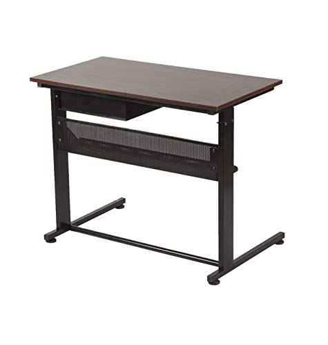 Geometry Work Laptop Study Table with Lockable Drawer and a Shelf Material: Metal Frame with Particle Board top, (3 Ft)