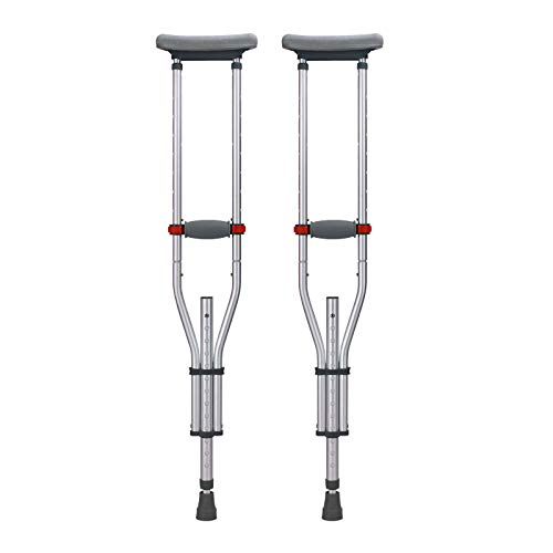 (Crutches Push Button Adjustable Crutches, Aluminum Crutches with Pads, Tips, and Handgrips Accessories,Mobility During Injury Recovery, Great for Travel Or Work Fauay)