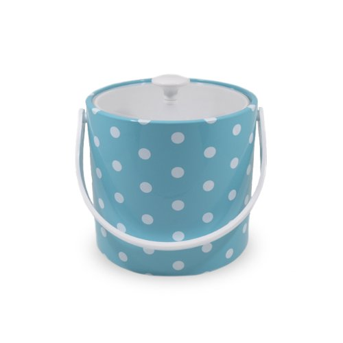 Mr Ice Bucket - Mr. Ice Bucket 771-1D Polka Dots Ice Bucket, 3-Quart, Turquoise