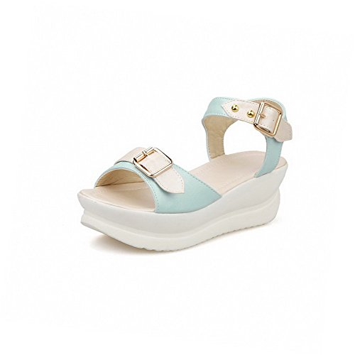 Blue Toe Buckle Womens Open Pu Heels Assorted Sandals Kitten Color AmoonyFashion qvw0ZgO