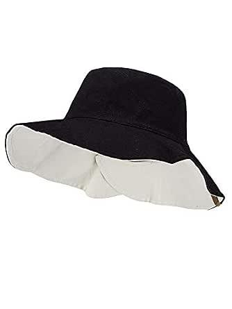 C.C Women's 100% Cotton Crushable Bucket Ponytail Messy Bun Sun Hat Reversible - Multicoloured - One Size