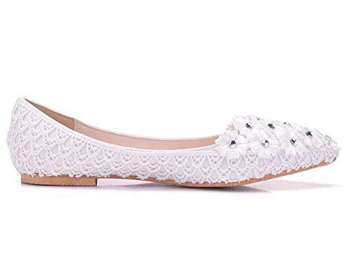 Blanc Flats 4 Slip Qiusa De Taille on Fleurs Mariée Mesdames Pointu 5 Parti Robe coloré Dentelle Toe Uk X047X6