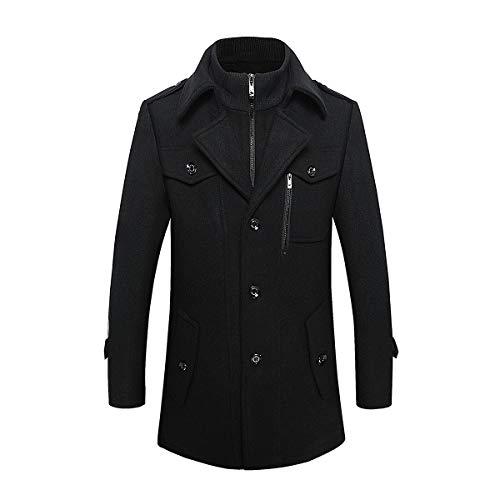 Flocean Men's Winter Coats Wool Blend Jacket Stand Collar Windproof Pea Coat-Black-XL ()