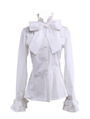 an*tai*na* Camicia Tradizionale Lolita vittoriana in cotone bianco con arricciatura in pizzo e fiocco e collo alto