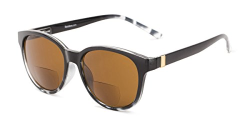 Readers.com | The Cecily Bifocal Reading Sunglasses +2.50 Black/Tortoise with Amber Round Men's & Women's Full Frame