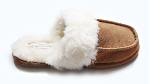 Justladybug Mule Hausschuhe für Damen. Extrem bequeme Hausschuhe. 100% Echtleder, Futter aus Wolle und Fell. Harte Sohle.