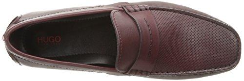 HUGO by Hugo Boss Mens Travelling Dandy Moccasin in Red Leather Slip-on Loafer Dark Red q21rajNNn