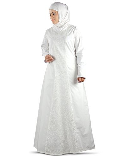 Oración Musulmanes Bordado Ay Abaya Burqa Simple Blanco 395 Mybatua RTy6cI1