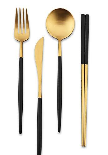 Islandoffer Premium 304 Stainless Steel Knife Fork Spoon Chopstick Set Flatware Dinnerware Cutlery Tableware Set with Black Gift box (Black Gold)