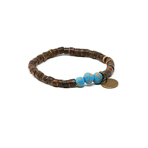 Stretch Shell Bracelet Coconut (Handmade in Haiti Dolphin Blue Coconut Pipeline Bracelet Made with Real Coconut Shell Pieces Clean Water for Haitians Fashion for A Cause)