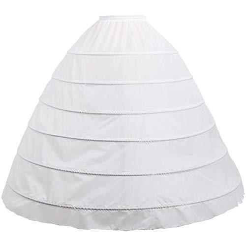 CountryWomen 6-Hoops Hoop Skirt Full A-line Bridal Dress Gown Slip Petticoat for Wedding Dress Crinoline Underskirt Ball Gown (M, 6-Hoops Hoop Skirt) (Bridal Wedding Petticoat Skirt Dress)