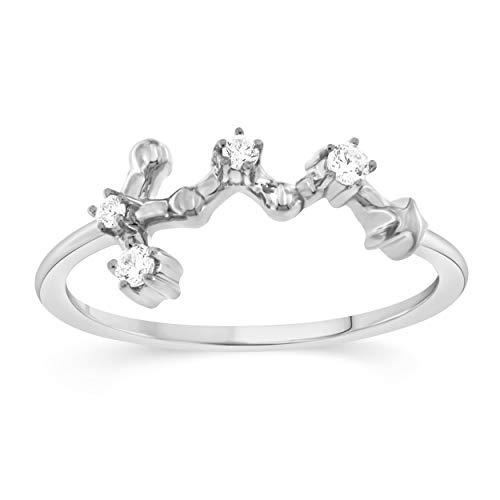 Celestial Star Horoscope VIRGO Astrology Star .10 Diamond Ring in Sterling Silver, Size 7