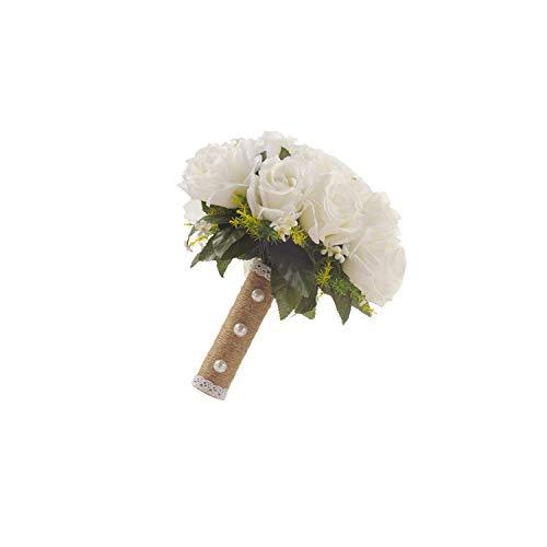 Bridal Bouquet,Wedding Bride Wedding Bouquet Decor Hand Tied Flower Bridesmaids Bouquet Artificial Flower 2826Cm White Rose Bridal Supplies