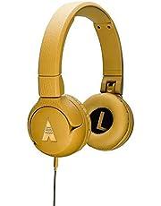 POGS Kinderkoptelefoon - The Elephant, Opvouwbare on-ear-koptelefoon met gehoorbescherming voor kinderen, functie voor het delen van muziek, Aux-kabel (blauw) (geel)