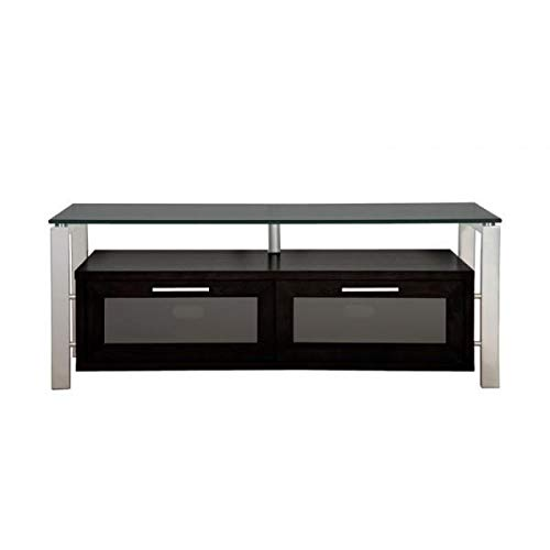 Plateau DÉCOR 50 (B)-S-BG Enclosed Cabinet Audio/Video Stand, Black Oak with Silver Metal Frame and Black Glass -
