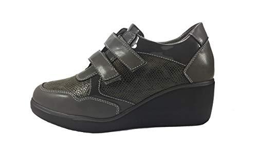 de MUDS Pitonato Femme pour Ville Grigio Chaussures à Lacets p5x5gqr