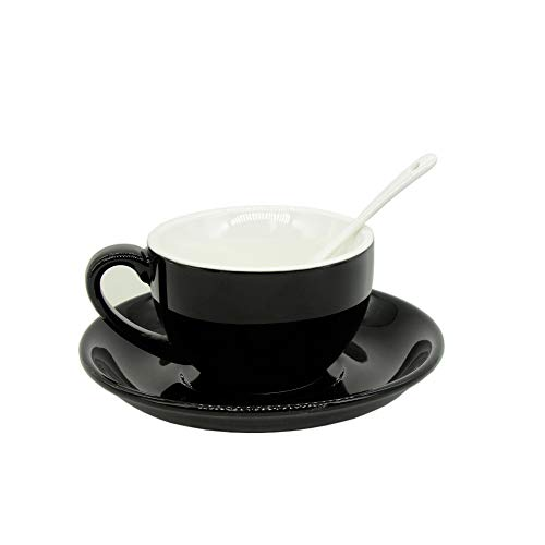 Porcelain Cappuccino Cups with Saucers, Porcelain Espresso Cups with Saucers, Coffee Drinks, Latte, Cafe Mocha and Tea (Black)