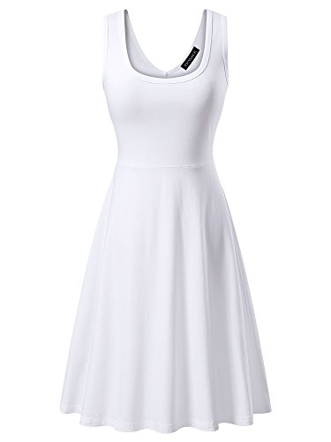 FENSACE Womens Sleeveless Scoop Neck Summer Beach Midi A Line Tank Dress, White, Medium