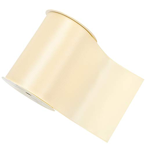 YAMA Double Face Satin Ribbon Roll - 4 inch Wide Solid Color Craft Ribbon, Great for Chair Sash- 5 Yard/Spool, Ivory