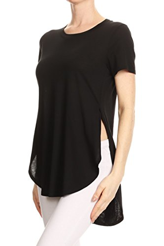 Women's Round Neck Casual Side Slits Long Tops (Black) - 3