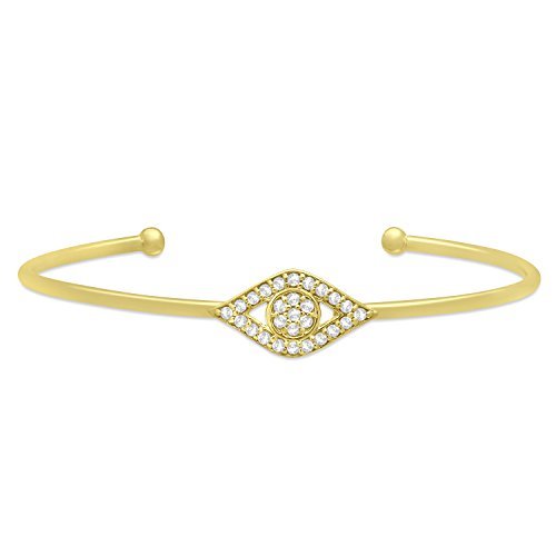 (0.41ct) Evil Eye Diamond Bangle Bracelet 14k Yellow ()