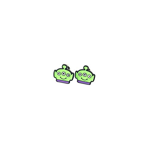 Green Alien Costume Toy Story (Toy Story Green Alien Silver Tone Cartoon Comic Logo Post Earrings w/Gift Box by Superheroes Brand)