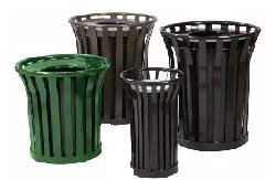 Steel Trash Receptacle with Decorative Rim and Flat Top Lid (Dome Top/Green)