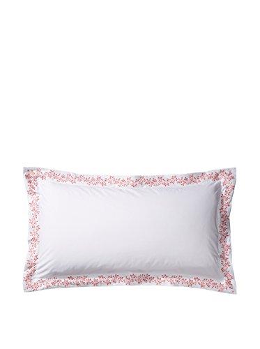 Anne De Solene of Paris Standard Sham Flora/ 100% Long Staple Cotton White with Coral Trim