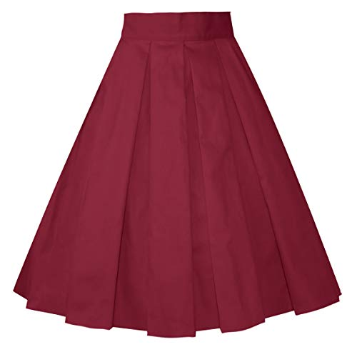 Girstunm Women's Pleated Vintage Skirt Floral Print A-line Midi Skirts with Pockets Burgundy XXX-Large