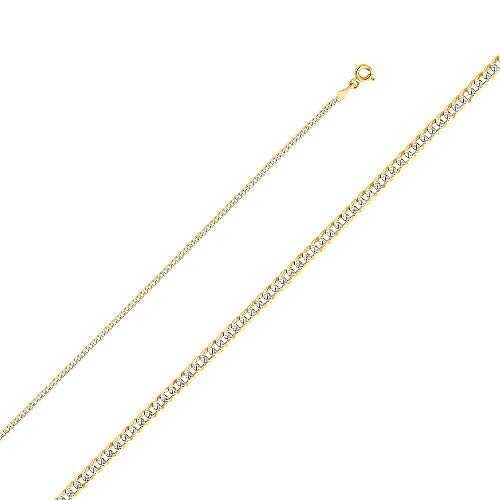 Wellingsale 14k Two Tone Yellow and White Gold SOLID 2mm Polished Cuban Concaved Curb White Pave Diamond Cut Chain Necklace with Spring Ring Clasp - - 180 Pave Curb Necklace Chain