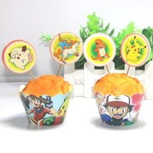 Pokemon Go Pikachu Cupcake Toppers and Wrappers Birthday Pokemon Party Kit ( 24 pcs Makes 12)