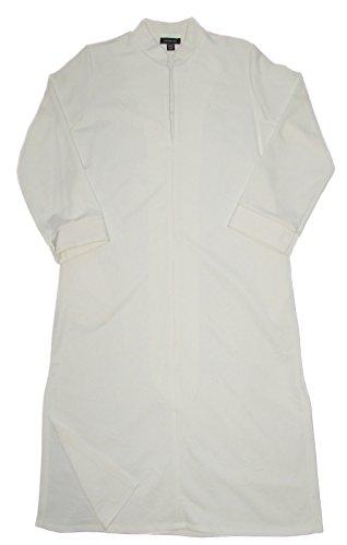 Jones New York Long Sleeve Rose Jacquard Zip Up Long Robe L/XL White