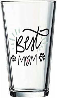 Vaso de cristal para el mejor mamá, para el agua, zumo, cerveza, licor, whisky en boda, fiesta, día de la madre, día del padre, cumpleaños.