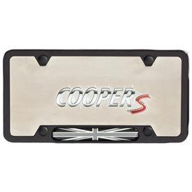 genuine mini cooper black license plate frame with black jack pattern - Mini Cooper License Plate Frame