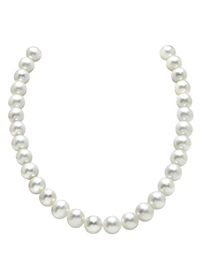 (THE PEARL SOURCE 11-12mm AAA Quality Round White Freshwater Cultured Pearl Necklace for Women in 18