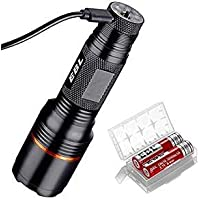 EBL Rechargeable Tactical Flashlight with 2 x Batteries and USB Cable